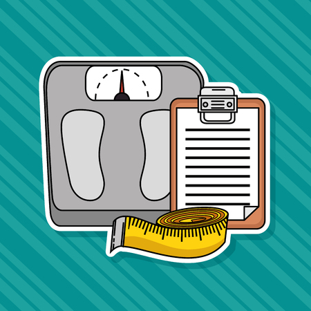 Weight scale and meter of Fitness sport and gym theme Vector illustration