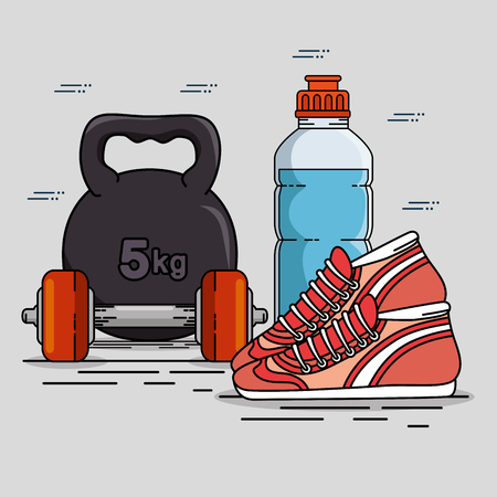 Weight bottle and shoes of Fitness sport and gym theme Vector illustration