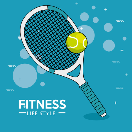 Racket and tennis ball of Fitness sport and gym theme Vector illustration Illustration