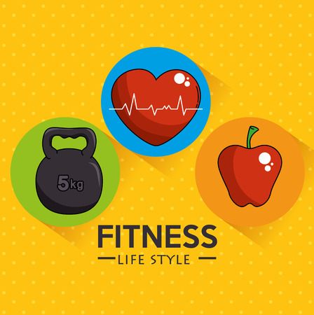 Weight heart and apple of Fitness sport and gym theme Vector illustration Illustration