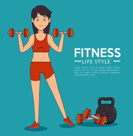 Girl doing exercise of Fitness sport and gym theme Vector illustration