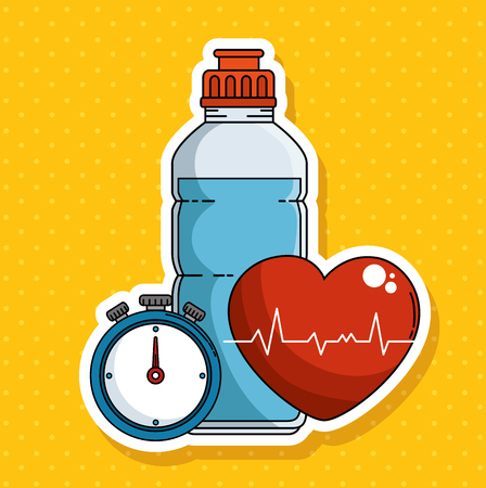 Bottle chronometer and heart of Fitness sport and gym theme Vector illustration