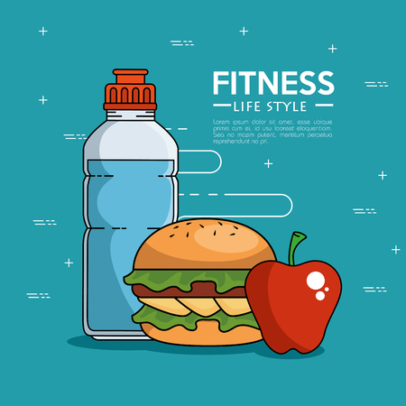 Hamburger apple and bottle of Fitness sport and gym theme Vector illustration