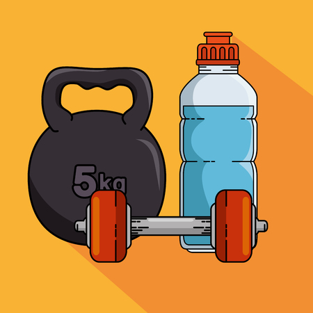 Weight and bottle of Fitness sport and gym theme Vector illustration