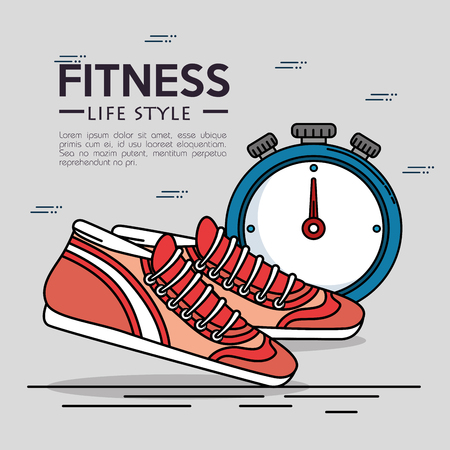Shoes and chronometer of Fitness sport and gym theme Vector illustration