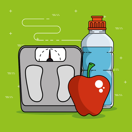 Weight scale apple and bottle of Fitness sport and gym theme Vector illustration