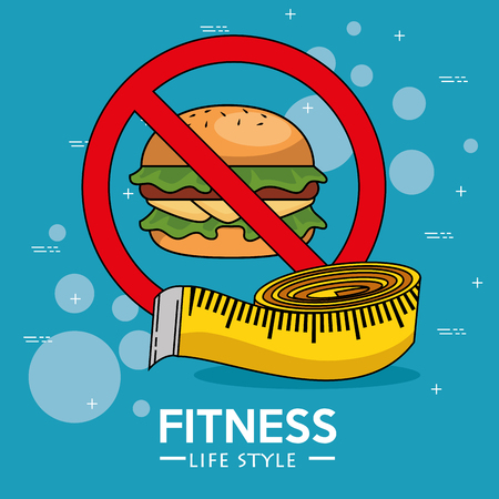 Hamburger and meter of Fitness sport and gym theme Vector illustration