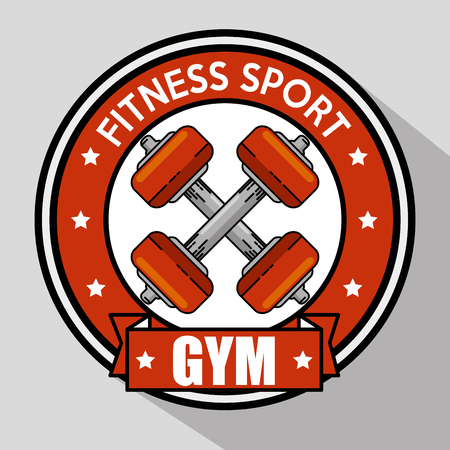 Weight inside seal stamp of Fitness sport and gym theme Vector illustration