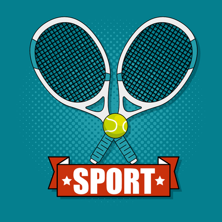 Racket and tennis ball of Fitness sport and gym theme Vector illustration Иллюстрация