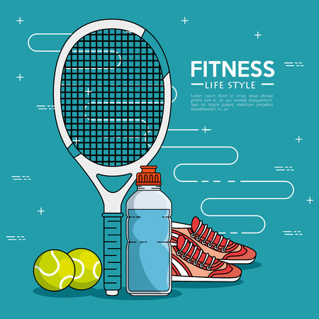 Racket shoes bottle and tennis ball of Fitness sport and gym theme Vector illustration Illustration