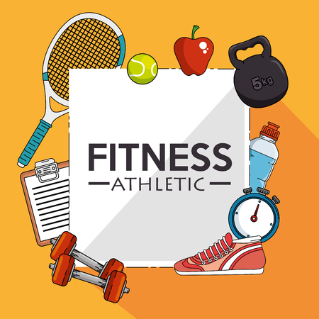 cronometro: Icon set of Fitness sport and gym theme Vector illustration Vectores