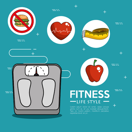 Weight scale and icon set of Fitness sport and gym theme Vector illustration Иллюстрация