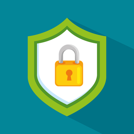 infected: Padlock inside shield of security system theme Vector illustration