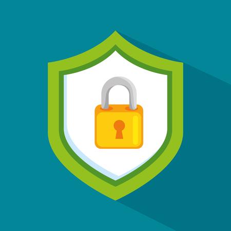 Padlock inside shield of security system theme Vector illustration