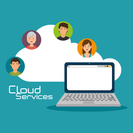 Laptop and people of Cloud computing and services theme Vector illustration
