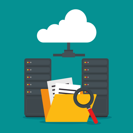 File and lupe of Cloud computing and services theme Vector illustration