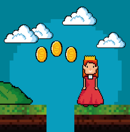 Princess and coins of Video game theme Vector illustration