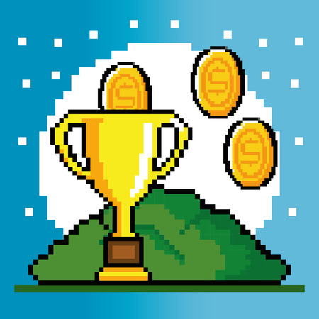 obsession: Trophy and coin of Video game theme Vector illustration