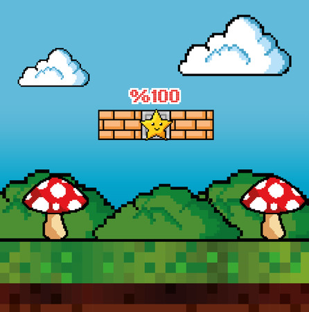 obsession: Mushroom of Video game theme Vector illustration Illustration