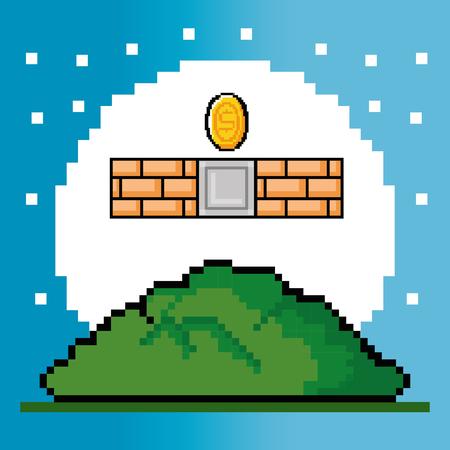 Wand des Videospielthemas Vektorillustration Standard-Bild - 84737750