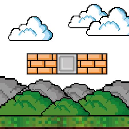 Wand der Videospielthema Vektorillustration Standard-Bild - 84737752