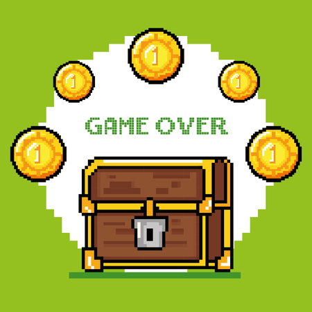obsession: Trunk and coins of Video game theme Vector illustration