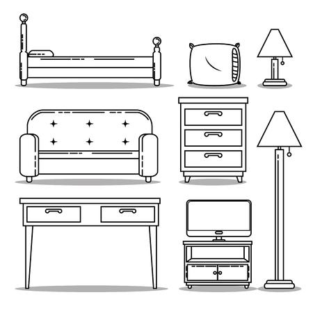 Icon set Huis en meubel thema Vector illustratie Stock Illustratie