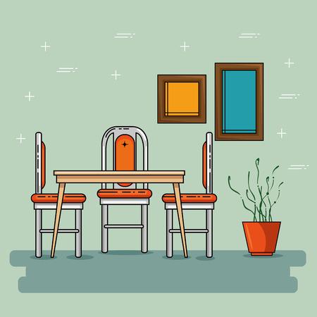 Tafel en stoelen van huis en meubel thema Vector illustratie