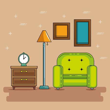 Stoel van huis en meubel thema Vector illustratie