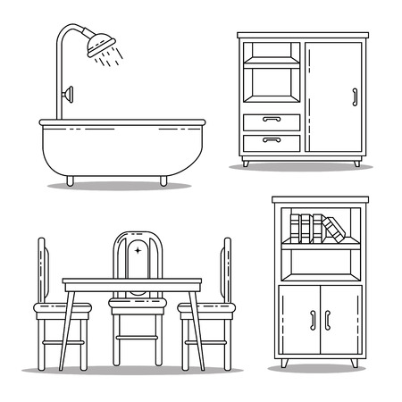 Icon set of Home and furniture theme Vector illustration Ilustração