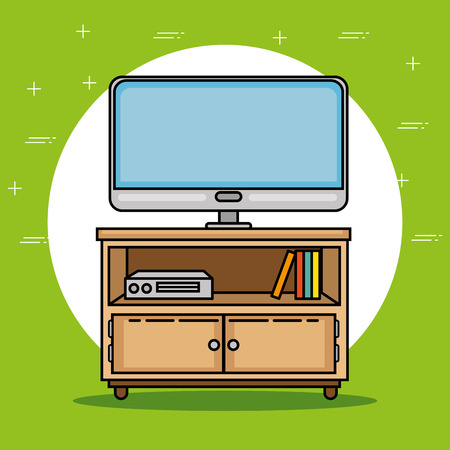 Tv and furniture of Home theme Vector illustration