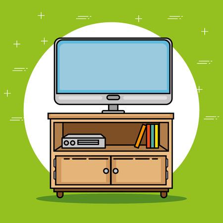 Tv en meubels van Thema thema Vector illustratie Stock Illustratie
