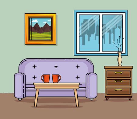 家庭や家具のテーマ ベクトル イラストのソファ