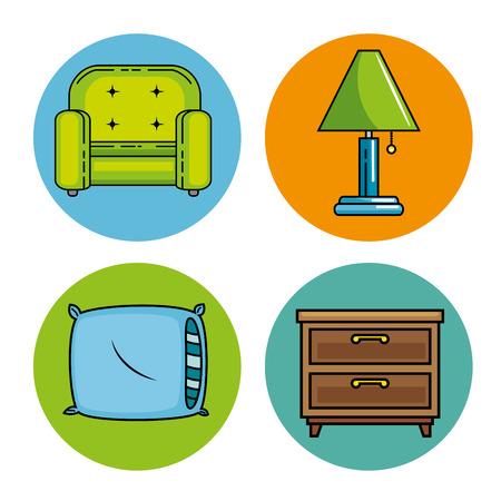 Icon set of Home and furniture theme Vector illustration Ilustração