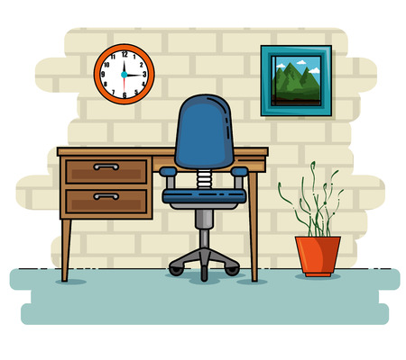 デスク、家と家具のテーマ ベクトル図の座席