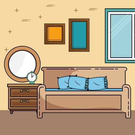 Bed and furniture of Home theme Vector illustration