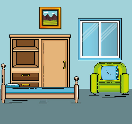 Chairand bed of Home and furniture theme Vector illustration