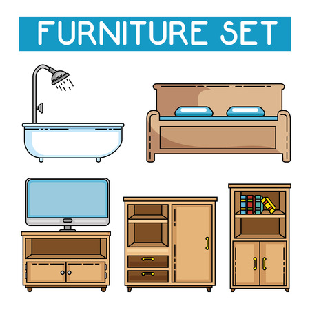 Icon set of Home and furniture theme Vector illustration Çizim