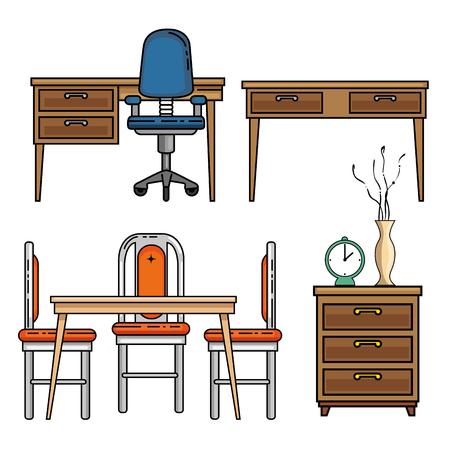 デスク テーブルと家と家具のテーマ ベクトル イラストのシート