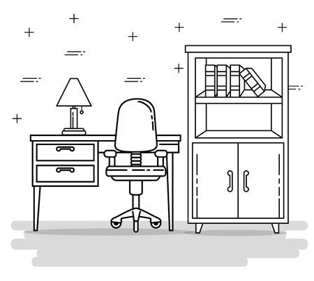 Desk and seat of Home and furniture theme Vector illustration