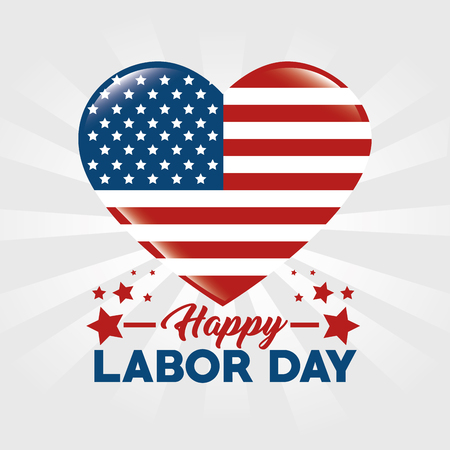 Heart of Labor day in Usa theme Vector illustration Ilustração