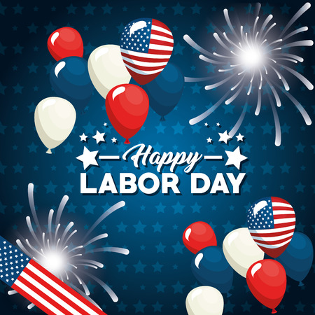 Balloons of Labor day in Usa theme Vector illustration Illustration