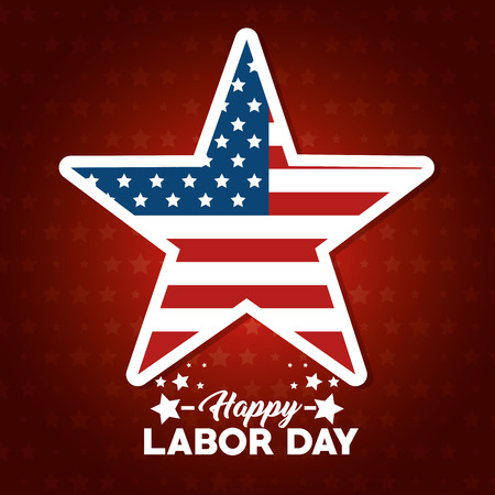 Star of Labor day in Usa theme Vector illustration