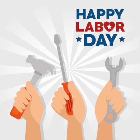 Spanner hammer screwdriver and hand of Labor day in Usa theme Vector illustration Ilustração