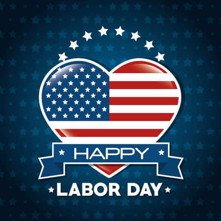Heart of Labor day in Usa theme Vector illustration Illustration