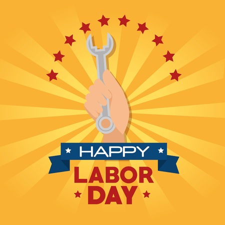 スパナ、アメリカ テーマ ベクトル図の労働者の日の手