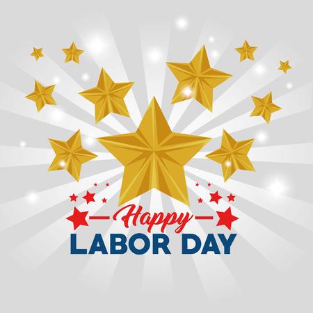 アメリカ テーマ ベクトル図の労働者の日の星