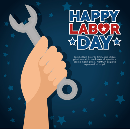 Spanner and hand of Labor day in Usa theme Vector illustration Ilustração