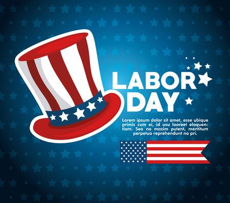 アメリカ テーマ ベクトル図の労働者の日の帽子