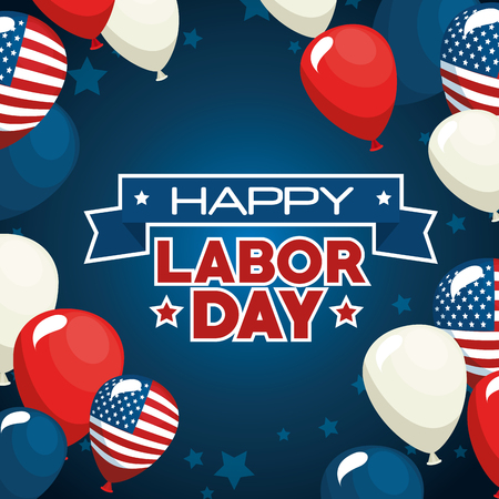 Balloons of Labor day in Usa theme Vector illustration Çizim